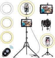 """LED Ringlicht mit Stativ Handy, 10 """"Selfie Ringleuchte mit Fernbedienung und Doppel Handyhalter mit 3 Farbe & 10 Helligkeitsstufen für YouTube TikTok Fotografie Live-Streaming [Tischstativ inklusive]"""