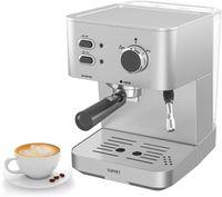 Kaffee- und Espressomaschine, 8-12 bar, für Kaffeepulver, Integrierter automatischer Milchschäumer Silber