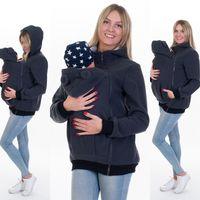 Tragejacke für Tragetuch Bauchtrage Tragepullover Fleece für Mama und Baby in Graphit Größe 40/L