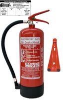 6 kg ABC Pulver Feuerlöscher NEU Orginalverpackt Brandklasse ABC, EN3, Manometer, Messingarmatur + Sicherheitsventil mit Kunststoffstandfuß mit Wandhalter (Mit Prüfnachweis u. Jahresmarke)