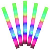 10 Stk. | LED Leuchtstab XXL 48 cm aus Schaumstoff, Multicolor Party