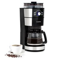 Klarstein Grind & Brew Filter-Kaffeemaschine mit Kegelmahlwerk , Glaskanne 10 Tassen , 1 Liter Wassertank , Kaffeebohnen und Filterkaffee , wählbarer Mahlgrad & Kaffeestärke , 1000 W , großes Bohnenfach  silber/schwarz