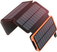 ADDTOP Solar Powerbank 25000mAh Tragbare Solar Ladegerät mit 4 Solarpanels, Outdoor wasserfester externer Akku mit 2 USB Ports für iPhone, Samsung, Android Und Tablet, Kamera usw