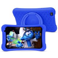 PRITOM L8 Kinder-Tablet, für Kinder von 2-12 Jahren, 8 Zoll HD-IPS-Display Android 10 Kinder-Tablet, Quad-Core-Prozessor, 2 GB RAM 32 GB ROM, 2.0 Frontkamera + 8.0 MP Rückfahrkamera, Blaue kindersichere Hülle