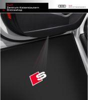 Einstiegsleuchte Audi S-Line Logo, Beleuchtung in weiß und rot, Set für 2 Türen, LED, Original Audi