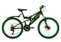 "Jugendfahrrad Mountainbike Fully 24"" Bliss (schwarz-grün)"