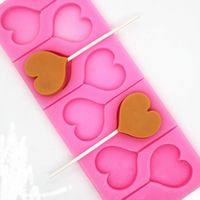 8-Hole Heart Shape Silicone Lollipops Chocolate Mold Candy Cake Baking Mold Cake Decorating Pastry Mould Soap Molds