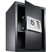 tectake Elektronischer Safe Tresor mit Schlüssel und Einlegeboden inkl. Batterien - schwarz