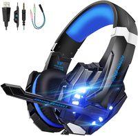 Alamro Gaming headset für PS4, 3.5mm Surround Sound mit Mikrofon, LED-Licht, Kopfhörer für Laptop, Xbox one, PC, Smartphone