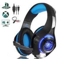 Kopfhörer Beexcellent Gaming Headset für PS4, PC, Xbox One, LED-Licht, Crystal Clarity Sound, Professioneller Kopfhörer mit Mikrofon für Laptop, Mac, Handy, Tablet, Blau