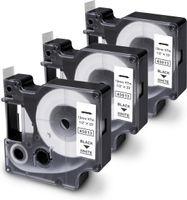 TELANO® 3 Stück Kompatibel Schriftband als Ersatz für Dymo D1 45013 / S0720530 Schwarz auf Weiß Etikettenband 12mm x 7m für Dymo LabelManager Labelpoint LabelWriter Duo