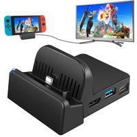 Switch TV Docking Station, Switch Controller Dock Ladestation Mini Tragbare, Kompakter Switch zu HDMI 4K Adapter, Switch Ladeständer als Ersatz für Switch mit USB 3.0 und Typ C