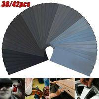 Lack Schleifpapier Set,42 Stk Schleifpapier Set 120 - 3000 Körnung Sortiment Nass Sandpapier Blätter
