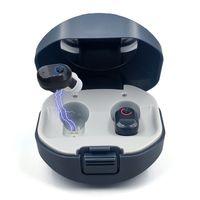 Mini CIC Digitale Hörverstärker Inner Ear Enhancer Personal Ton Sprachverstärker Mit Noise-Cancelling One Touch Lautstärkeregelung USB Aufladbare Ladebox (1 Paar)