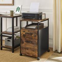 VASAGLE Rollcontainer mit 2 Schubladen | 66 x 41 x 45 cm Büroschrank mit Rädern stabiles Stahlgestell vintagebraun-schwarz OFC71X