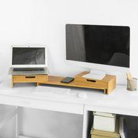 SoBuy BBF04-N Design Monitorerhöhung für 2 Monitore Monitorständer Bildschirmständer Notebookständer Schreibtischaufsatz mit 2 Schubladen Holz Bambus