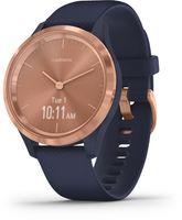 Garmin Vivomove 3S Smartwatch Sportuhr Fitness GPS Multisport Herzfrequenzmesser, Farbe:Blau/Rosegold