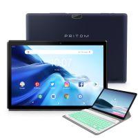 Android Tablet Pritom 10 Zoll Android 9.0 OS Tablet, 2GB RAM, 32GB ROM, Quad Core Prozessor, HD IPS Bildschirm, 2.0 Front + 8.0 MP Rückfahrkamera, WiFi, Bluetooth - Tablet PC mit wiederaufladbarer schlanker kabelloser Tastatur (weiß und grün) mit Leder Abdeckungsständer