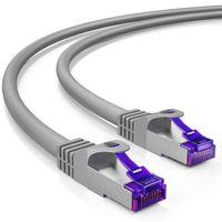 deleyCON 10m RJ45 Patchkabel Ethernetkabel Netzwerkkabel mit CAT7 Rohkabel S-FTP PiMF Schirmung Gigabit Lan Kabel SFTP Kupfer DSL Switch Router Patchpanel - Grau