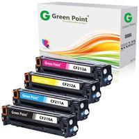 Greenpoint® 4er Pack Toner- / Druckerpatronen als Ersatz für HP CF210A CF211A CF212A CF213A für HP LaserJet Pro 200 Color M 251 / M 251N / MFP M276 / MFP M276nw - (2.400 Seiten Schwarz/Black , 1.800 Seiten je Color C/Y/M)