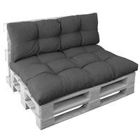 Palettenkissen Set Basix in Anthrazit - Sitzkissen 120x80 cm und Rückenkissen 120x40 cm – Palettenauflagen Komplett-Set – Sitzpolster