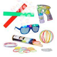 relaxdays 104 tlg Partyset, 2 Leuchtstäbe, 100 Knicklichter, LED Partybrille, Seifenblasen