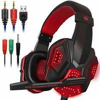 Gaming Kopfhörer Headset Stereo Sound Kopfhörer mit Mikrofon HD Stereo USB Rot LED für PS4 Xbox PC ROT