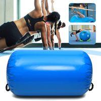 Aufblasbar Gymnastics Mat Rolle Air Track Tumbling Floor Matte 100x85cm Sport Fitnessrolle Blau
