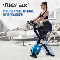 Merax Heimtrainer X-bike mit LCD-Konsole, Handpulssensoren und Trainingscomputer, Magnetische Faltbares Fitnessfahrrad mit 8 Widerstandsstufen, Max. Benutzergewicht 110 kg, Blau