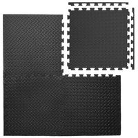 4 Bodenmatten mit 8 Abschlussleisten | beliebig erweiterbare Steckmatten | Fitness Yoga Judo Trainingsmatte Schutzmatten Bodenauflagen | extra dick 20mm | Schwarz