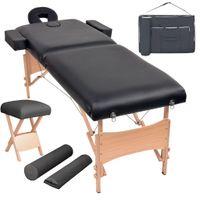 Hochwertigen- Massageliege ,Massagebett ,Massagetisch ,Kosmetikliege 2 Zonen Tragbar mit Hocker 10 cm Polster Schwarz