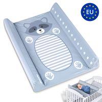 Wickelauflage Wickelunterlage Auflage für Baby 50 x 70 cm abwaschbar - Wickeltischauflage changing mat für Wickelkommode Wickeltisch GRAU Messlatte