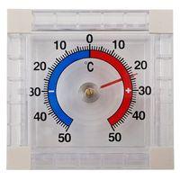 Fenster Thermometer Quadratisch aus Kunststoff Außenthermometer in Weiß zur Befestigung an der Fensterscheibe