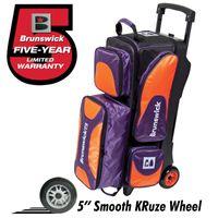 Bowling 3 Ball Tasche Roller Brunswick Triple Flash X purple orange