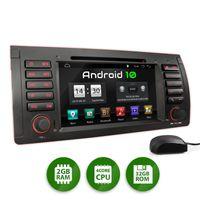 XOMAX XM-71BA: 2DIN Autoradio mit Android 10 Navi 7 Zoll Touchscreen Monitor, Bluetooth, DVD, CD, SD und USB (passend für BMW E39, E53 X5 und M5)