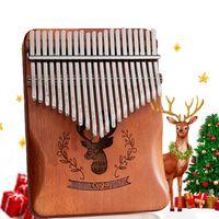 Kalimba 21 Schlüssel Daumenklavier Marimbaphone Mahagoni Holz Finger Thumb Piano Musikinstrument Geschenk für Kinder und Erwachsene