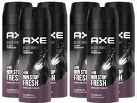 AXE Bodyspray Black Night 6x 150ml Deo Deospray Männerdeo Deodorant ohne Aluminium für Männer Herren Men