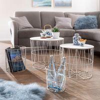 FineBuy Design Beistelltisch 4er Set aus Körben Weiß   Moderne Korbtische mit abnehmbaren Tablett   Satztisch 4-teilig mit Stauraum