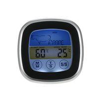 Digital Bunte LCD BBQ Thermometer mit langen Sonde Touchscreen Fleisch Kochen Timer fuer Grill Steak Rindfleisch Lamm Schweinefleisch Kalbfleisch Chicken Tuerkei