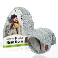 Sharon Music Beanie Bluetooth Kopfhörer-Mütze Mit Zartem Zopfmuster, Grau Meliert