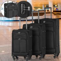 Vojagor® Koffer Trolley Set - 3 teilig groß mittelgroß klein, 4 Rollen, aus Stoff, TSA-Schloss - Weichschale Reisekoffer, Kofferset, Stoffkoffer, Weichgepäck