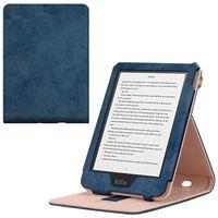Kunstleder Cover Hülle mit Schlaufe Ständer für Kobo Clara HD e-Reader Blau