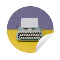 Gartenposter Rund - Blaue Vintage-Schreibmaschine - Ø 90 cm