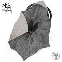 Einschlagdecke Babyschale Babydecke Kinderwagen Decke für Winter Fußsack Grau mit Sternen Baumwolle Minky Dunkelgrau 90x90 cm