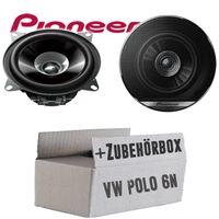 Lautsprecher Boxen Pioneer TS-G1010F - 10cm Doppelkonus 100mm PKW KFZ Auto 190W PAAR Einbausatz - Einbauset für VW Polo 6N - justSOUND