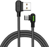 Mcdodo LED 90 Grad Typ-C 0.5M Ladekabel Winkel USB-C Kabel abgewinkelt Nylon geflochten Schnellladegerät Daten Sync L Form Kabeladapter kompatibel mit Android