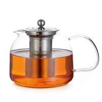 Monzana Teekanne Glas 1,5 L mit Siebeinsatz Edelstahl Teebereiter Glaskanne Edelstahl Sieb Deckel spülmaschinengeeignet