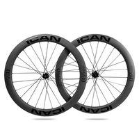 ICAN Carbon Laufräder ALPHA 55 Disc Rennrad Laufradsatz 55mm Drahtreifen Tubeless Ready Scheibenbremse 12x100 / 12x142mm