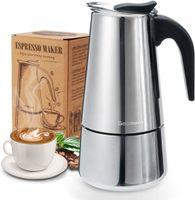Espressokocher, Kaffeekocher, Godmorn Mokkakanne aus 430 Edelstahl, Espresso Maker für 6 Tassen (300 ml), Stovetop Coffee Maker Induktion Herde geeignet