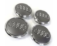 Für Audi 4 Stück RadnabenabdeckungGraphit - Silber Nabendeckel 68mm Nabenkappen Radkappe